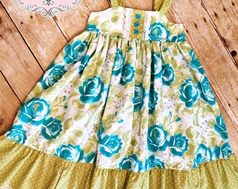 Ready to Ship Size 5T Girls Reverse Knot Dress Turquoise Roses Bow Dress Toddler Infant