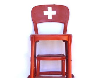 Up Cycled RED CROSS Step STOOL