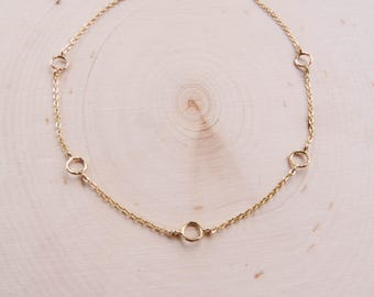 Simple Gold Choker | Hammered Circle Choker | Gold Choker | Gold Choker Necklace | Dainty Choker | Layering Necklace | Summer Necklace