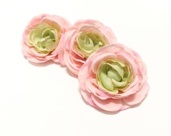 3 PINK and GREEN Artificial Ranunculus - 4 Inches - Artificial Flowers, DIY Wedding, Flower Crowns, Silk Flowers, Bouquet, Millinery, Tutu