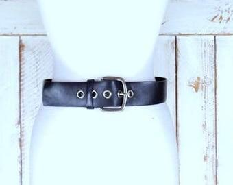 90s vintage wide black bonded leather silver buckle belt/grommet belt