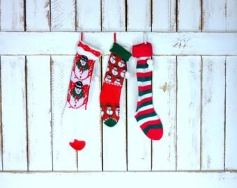 Vintage woven knit Christmas stockings/snowman/striped retro xmas socks/set of 3