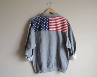 New USA Retro American Flag 1/4 Zip Sweatshirt Pullover // Size S-3XL