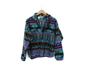 Vintage Columbia Colorful Tribal Aztec Pullover Fleece // Size MEDIUM