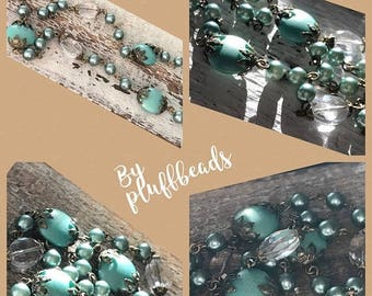 SALE New French Style Finery Wedding Satin European glass beads oval champagne Crystal Beads vibrant TEAL pearls