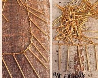 SALE DANGLE bar chain matte brushed gold plated 5mm bar link 25mm dangle bar drop