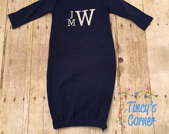 Three Initials Stacked Monogrammed Long Sleeve Unisex Navy Infant Gown