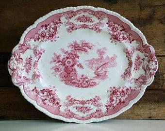 Antique Red Transferware Platter / John Maddock & Sons Royal Vitreous Bombay 14 1/2 inch