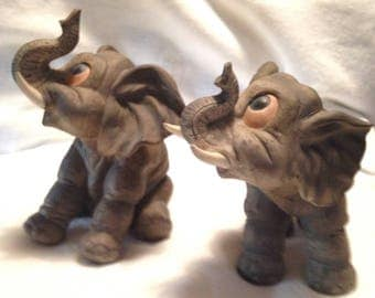 Two Elephant Figurines, Trunks In Up Position, Made by Andrea by Sadet, Vintage