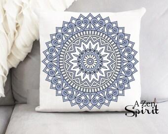 Blue Medallion Pillow, Blue Pillow, Pattern Pillow, Dusty Blue