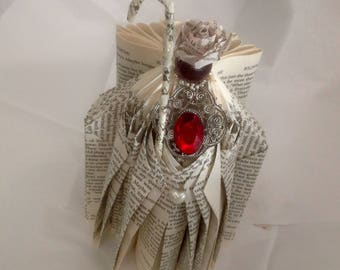 """Book Page Art Handfolded Titled """"HOLY"""""""