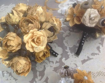 Gold and Black Sheet Music Lotus Bouquet Plus One Bridesmaid and One Toss Bouquet