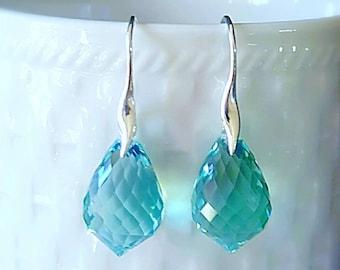 New! Mint Green Amethyst Prasiolite Minimal Drop Earrings on Simple Elegant Ear Wires