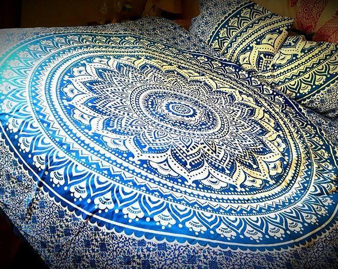 Blue and White Mandala Bedding Duvet Cover Set or Flat Sheet Set Hippie Bedding Beach Gypsy Bedding Dorm Decor College Life Festival Gear