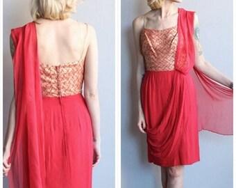 20% Off Sale // 1950s Dress // Audreé Gay Gold & Ruby Sarong Dress // vintage 50s dress