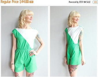 25% Off Sale // 1980s Romper // Two Tone Cotton Romper // vintage 80s romper