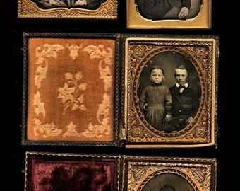 lot of 4 photos (3) 1/6 daguerreotypes (1) 1/6 ambrotype