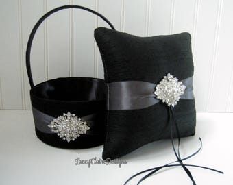 Wedding Ring Pillow and Flower Girl Basket Set Custom Made Ring Bearer pillow, basket for flower girl