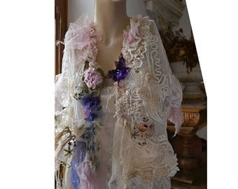 Unique Lovely Feminine Romantic White Jacket/Bolero Lots of Laces ROSES TIME Fairy Gipsy Old Doilies Antoinette Boho Tattered