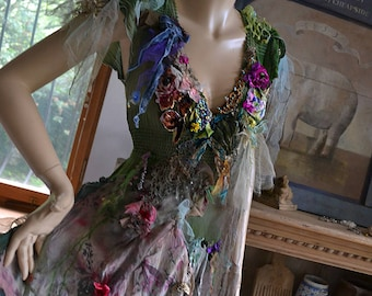 RESERVED Wonderful Unique Art To Wear  Forest Woodland Mori Dress  Lots of Silks  Undine QUEEN SWAMP Fairy Boho  Tattered