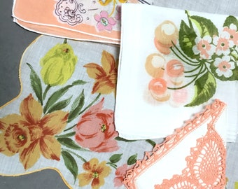 Lot of 4 Hankies Peach White Theme Daffodils Cherries Cotton Linen Scalloped Edge Lace Excellent Condition