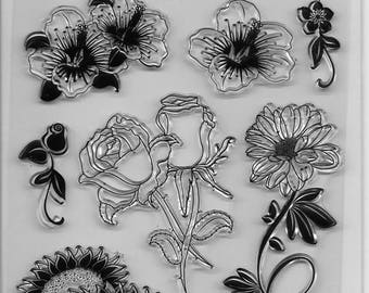 Forever In Time Clear Acrylic Stamp Set  --  NEW -- Floral Fantasy (#2401)