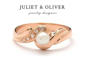Rose Gold Pearl Ring - Pearl Ring Rose Gold - Rose Gold Pearl  Ring With Diamonds - Diamond Pearl Rose Gold Ring - Pearl Ring In Rose Gold