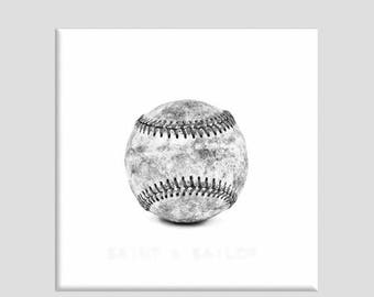FLASH SALE til MIDNIGHT Black and White Vintage Single Baseball on White One Photo Print , Wall Decor, Wall Art,  Kids Room, Nursery Ideas,