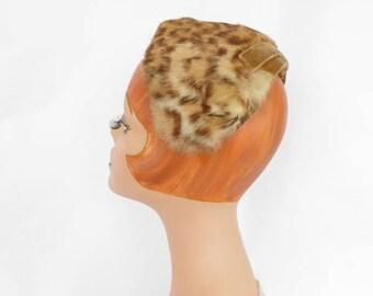 Woman's fur hat, vintage 1960s halfhat