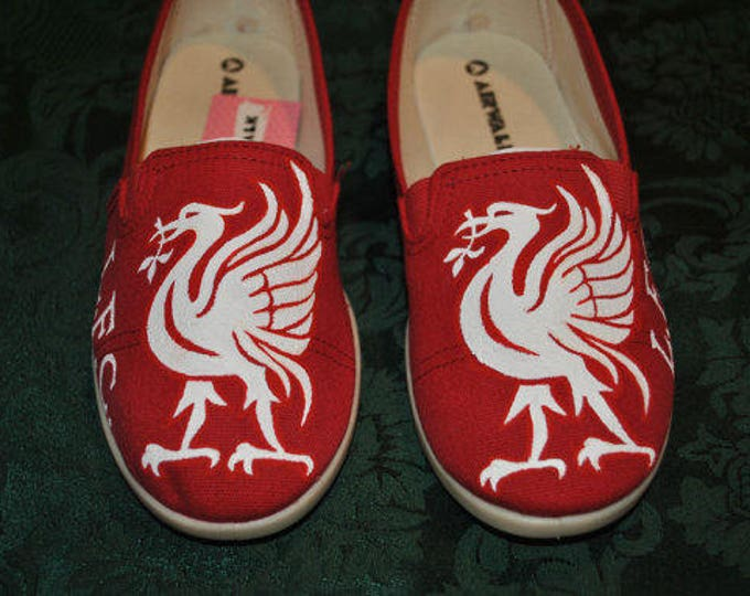 Custom Hand Painted Red Mens size 12 Vans with the Liverpool design