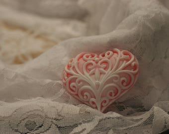 filigree heart soap glycerin soap set of 2 scented in loving spell