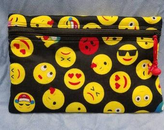 Zippered emoji cosmetic makeup pouch purse bag
