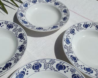 Set of 6 Vintage French Dishes Dessert Bowls 1920s Indigo Blue Art Nouveau Poppy Seed Head Pattern