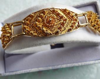 Vintage PORTUGAL Filigree Cannetille Panel Bracelet Gold Filled 835 Silver Portuguese Hallmarks
