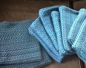 Handwoven Teal Dish Towels