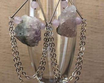 Raw Amethyst Drape Earrings