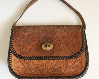 Vintage, Hand Tooled Leather, Handbag, Clutch, Wallet, Handbag, Gypsy, Cowgirl, Boho, Festival Style,