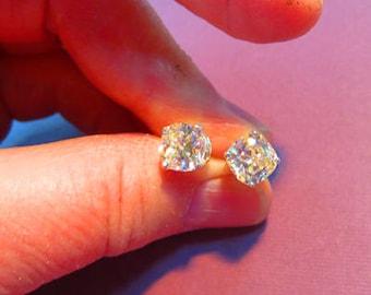 Strontium Titanate Post Earrings - 5mm Cushion Cut Sparkly Post Earrings - Strontium Titanate Posts