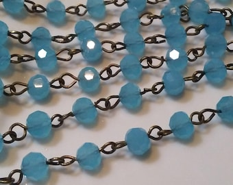 36 Inches 6 mm Frosted  Sky Blue Faceted Round Glass Rosary Chain, Brass Links.