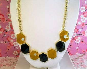 Mustard yellow gray hexagon statement necklace, Yellow and gray plastic bib statement bar necklace