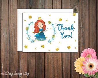 Thank You Cards - Merida and Laurel in Watercolor Style - Brave Scottish Princess - Set of 10 with Envelopes