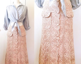 40s lace skirt, fishtail hem with pockets XS