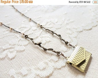 25% OFF SALE Miniature bronze purse / envelope locket necklace with branch / twig and pearl accents, A Letter From the Cabin
