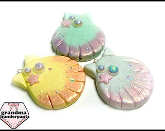 Shimmery Shell Necklace, Handmade, Pastel Fairy Kei, Mermaid