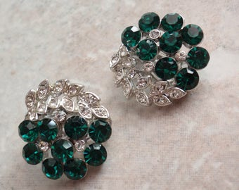 Green White Earrings Lisner Emerald Rhinestone Silver Tone Clips Bridal Vintage 080114ON