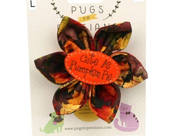 Thanksgiving Dog Bow - Cute as Pumpkin Pie on Autumn Leaves - Flower - Collar Blossom - Large Size