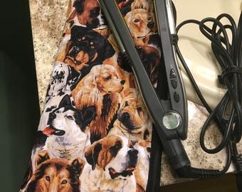 Flat Iron cover, Curling Iron Holder, Bunches of Dogs, Quilted & Completely Insulated Hair Straightener, Carrier, Case, Storage, Travel