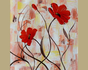 Red Poppies white 23 x 30 Original Oil Painting Palette Knife Flowers  Bouquet Textured  by Marchella