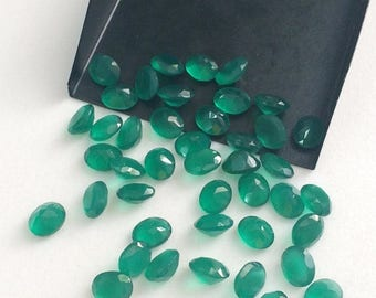 ON SALE 50% WHOLESALE 10 Pcs 7x9mm Green Onyx Gemstone Lot, Green Onyx Faceted Oval Cut Stone, Green Onyx Oval Gems, Calibrated - Pgpa130