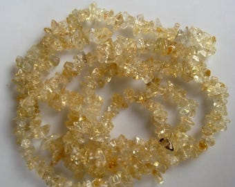 ON SALE 50% Wholesale Gemstone Beads, 5 Strands, Citrine Beads, Gemstone Chips, 36 Inches Each, Chip Size 5mm To 7mm Approx